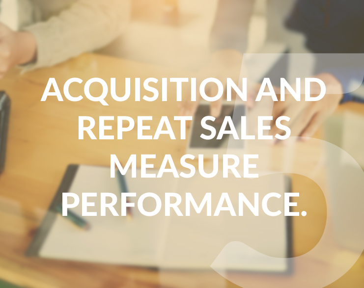 5-Acquisition and repeat sales measure performance.